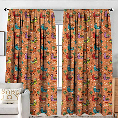 NUOMANAN Rod Pocket Curtains Cactus,Colorful Alpacas in Mexico Latino Foliage Curved Lines Children Cartoon Characters,Multicolor,Insulating Room Darkening Blackout Drapes for Bedroom 54'x63'