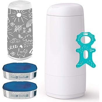 Angelcare® Dress-Up XL Starter-Set: Windeleimer + 2 Nachfüllkassette + Dress-Up Bezug HAPPY WORLD