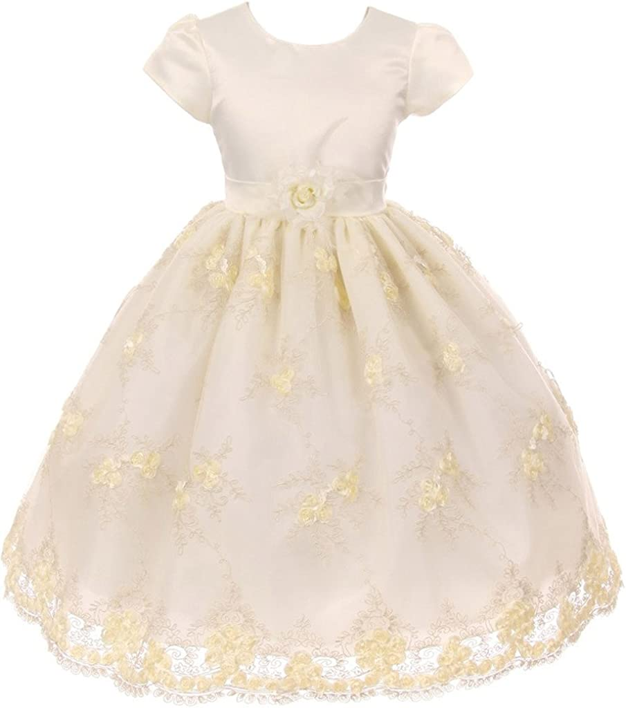 BNY Corner Puff Sleeve Embroidery Flower Girl Dress