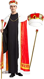 Regal King Royal Robe Halloween Costume Set with King Crown and Scepter (Standard) Red