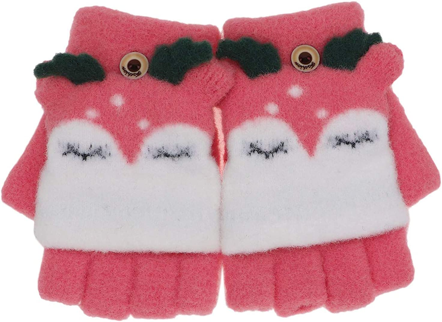 Kids Boy Girls Cute Fox Convertible Gloves with Mitten Cover Knitted Winter Fingerless Flip Top Gloves for Boy Girls Toddler