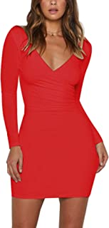 Womens Sexy V Neck Cutout Back Long Sleeve Bodycon Party Club Dress