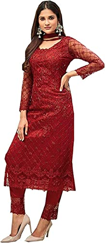 Women s Net and Soft Silk Full Embroidery Semi Stitched Red Salwar Suit