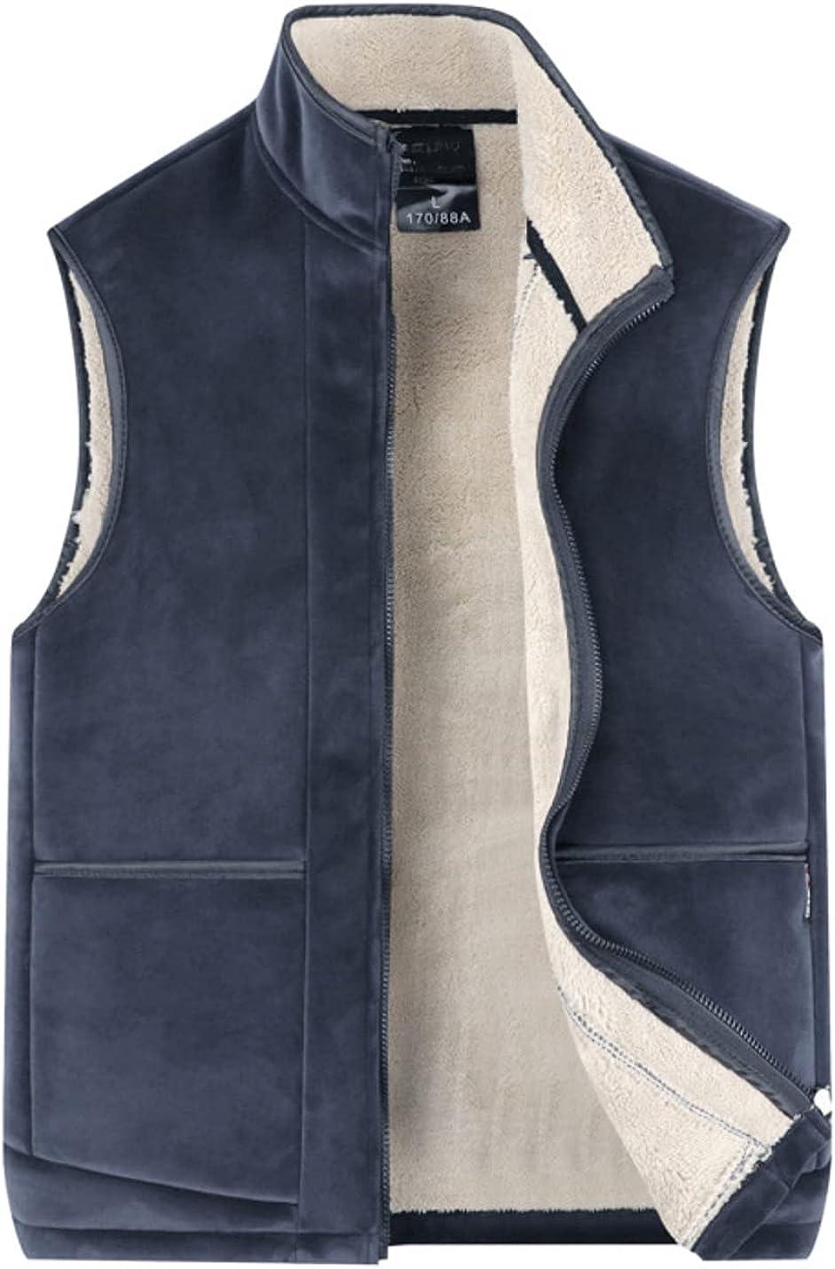 Bnigung Men's Winter Thick Fleece Lined Vest Warm Lamb wool Sleeveless Jacket Coats