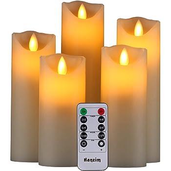 HANZIM LED Kerzen,Flammenlose Kerzen 250 Stunden Dekorations-Kerzen-Säulen im 5er Set.Realistisch flackernde LED-Flammen 10-Tasten Fernbedienung mit 24 Stunden Timer-Funktion (Ivory)