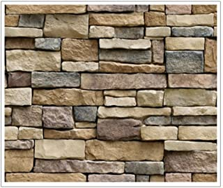 comprar comparacion VORCOOL Papel de Pared 3D Piedra de ladrillo Agraciado Efecto Rústico Etiqueta de Pared autoadhesiva 45x100cm (Piedra)