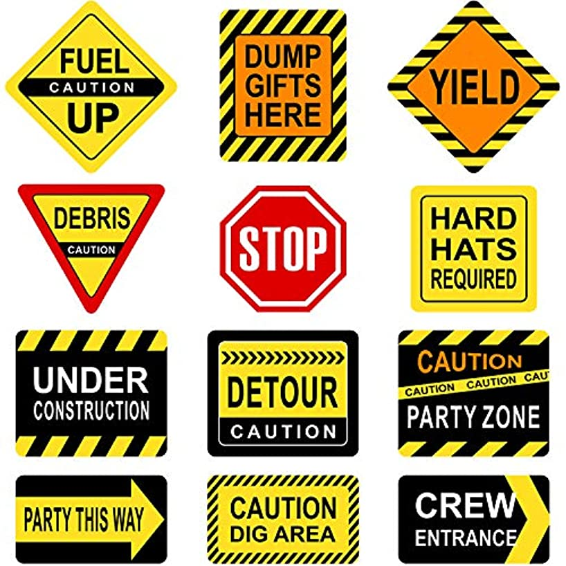 Blulu Construction Themed Party Decorations, 10-11.8 Inch Laminated Caution Traffic Signs, Construction Theme Party Signs, Paper Cutouts with 40 Glue Point Dots (12 Pieces Construction Signs)