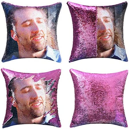 cygnus Nicolas Cage Gifts Sequin Pillow Cover Magic Mermaid Reversible Pillowcase That Color product image