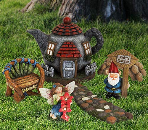 LA JOLIE MUSE Fairy Garden Gnome Accessories Kit - Hand Painted Miniature Teapot Fairy House Figurine Set of 6 pcs, Indoor & Outdoor Holiday Ornaments Gift for Girls Boys Adults, Yard Lawn Decor