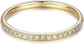 Hafeez Center 14K Solid Gold Petite Micropave Milgrain Eternity Ring Diamond Wedding Band Ring Women Girls