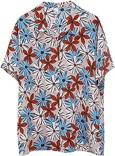 WZHZJ Color Retro Short-Sleeved Shirt Fashion Slim Floral Shirt Top (Color : A, Size : M Code)