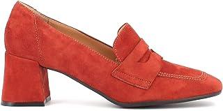 Altramarea Donna Made in Italy, Mocassino College in camoscio con Tacco Largo, Colore Rosso