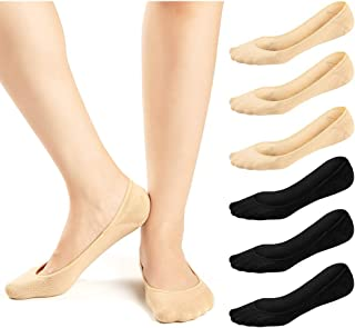 6 Pairs Women No Show Socks Ultra Low Cut Liner Socks Non Slip Invisible Socks for Loafer Boat Flats 6 Pairs