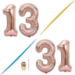 Huture 2 Globos Número 13 Figuras Globo Inflable de Helio Globo de Mylar de Papel Grande Globos Gigantes de Oro Rosa Número de Globo de 40 Pulgadas Para Fiesta de Cumpleaños Decoración Prom XXL 100cm