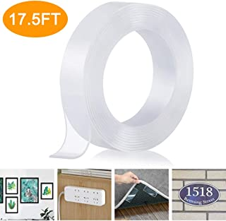 Double Sided Nano Tape, Removable Gel Grip Tape, Reusable Traceless Clear Sticky Adhesive Mounting Tape Heavy Duty for Festival Decor, Fix Carpet Mats, Photos/Posters, Home and Office Use (17.5 Feet)