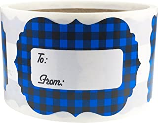 Blue Buffalo Plaid Christmas Gift Tags Holiday Present Stickers 2 x 3 Inch 100 Total Labels