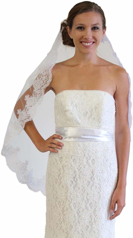 Alencon Lace One Tier Bridal Wedding Veil