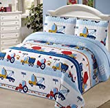Kids Zone Home Linen Bedspread Coverlet Quilt Set for Boys Construction Work Road Trucks Blue Red Yellow Cranes Dump Truck New (Full/Queen)