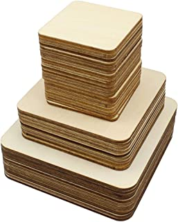 Meetory Lot de 42 carrés en bois vierge non en bois découpés pour loisirs créatifs, travaux manuels, art de pyrogravure, g...