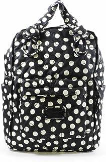 Pretty Nylon Polka Dot Knapsack Backpack - Black/White