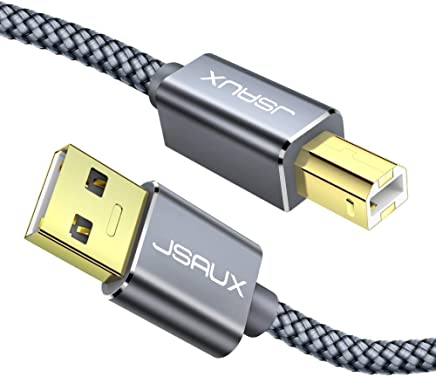Printer Cable, JSAUX 6.6ft USB 2.0 Type A Male to B Male Printer Scanner Cord High Speed Compatible with HP, Canon, Dell, Epson, Lexmark, Xerox, Samsung and More (Grey)