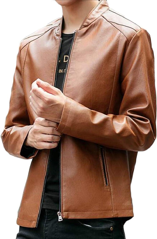 a9143ead69 QD-CACA Men's Vintage Slim Stand Collar Collar Collar Faux Leather Jackets  5f32b7