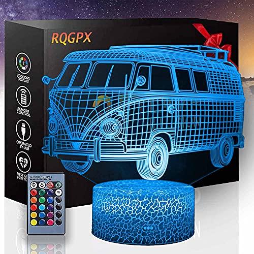 3D LED noche luz autobús ilusión lámpara 16 colores cambiando luz nocturna con control remoto, regalo de cumpleaños para niños