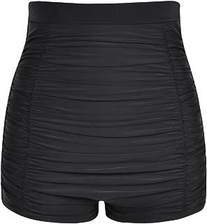 Women's Ultra High Waisted Bikini Bottom 50s Ruched Boyleg Swimsuit Bottom