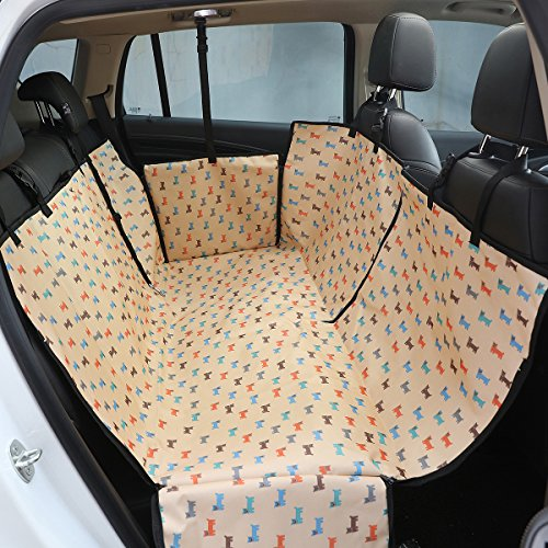 Love Tree Dog Seat Covers Waterproof Pet Car Seat Covers with Seat Belts & Zipper Nonslip Back Seat Cover Dog Hammock Convertible Extra Side Flaps Best for Cars Trucks Suvs (Beige)