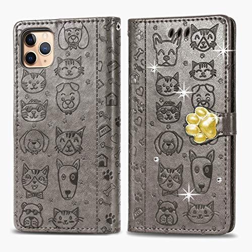 Oihxse - Custodia a portafoglio per iPhone 12 Mini, in pelle PU, con scomparti per carte, funzione di supporto, motivo: gatto e cane, brillante, colore: Grigio