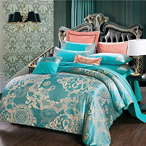 WAZA Juego de ropa de cama de lujo con diseño floral de 4 piezas, juego de funda de edredón bordada de satén de estilo neoclásico europeo (1 funda de edredón, 1 sábana encimera, 2 fundas)