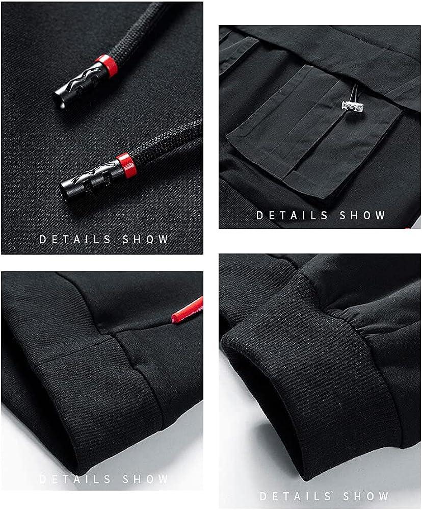 Meelanz Techwear Hoodie Black Sweatshirt Casual Oversize Clothing Hip Hop Pullover Long Sleeve for Men
