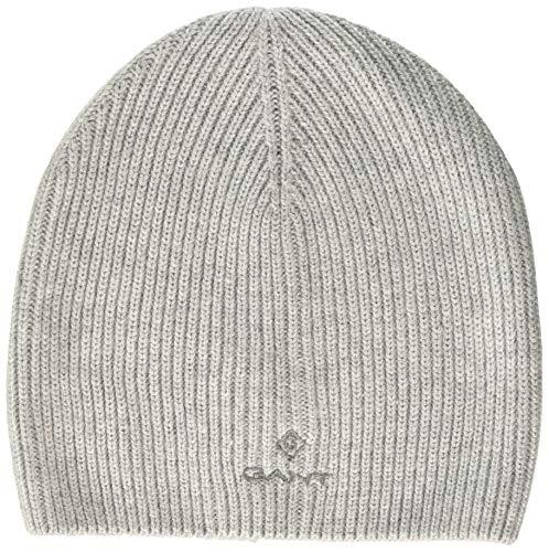 GANT Damen D1. SOLID Knit HAT Strickmütze, Grau (Light Grey Melange 94), (Herstellergröße: One Size)
