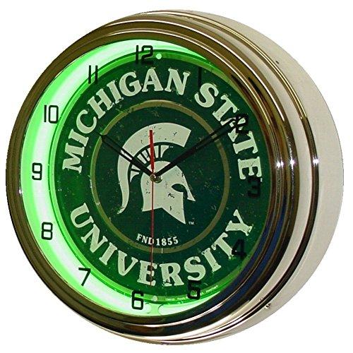 Michigan State University Logo Sign Neon Lighted Wall Clock Chrome Green