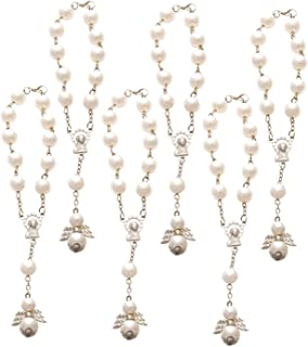 Faux Pearl Guardian Angel Rosary Bracelet, Religious Bracelet for First Communion, Christening, Religious Events