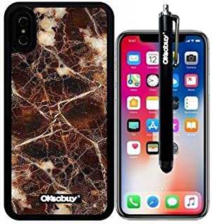iPhone X Case, Old Rings Marble Texture Case, OkSoBuy Ultra Thin Soft Silicone Case for Apple iPhone X - Old Rings Marble Texture