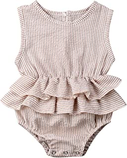 Baby Girls Clothes Ruffles Collar Romper Bodysuit Jumpsuit Outfits Summer Clothes for Infant Toddler Girl