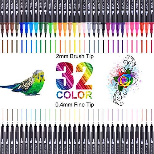 Dual Brush Pen Set,Brush Pen Set Pinselstifte, 32 Aquarell Farben Pinselstifte, Watercolor Kombimaler, für Bullet Journal Zubehör, Kalligraphie, Hand-Lettering,Fasermaler[1-2 mm] und Fineliner[0,4 mm]