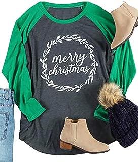 Womens Plus Size Merry Christmas Baseball T-Shirt Leaf Letter Print Raglan 3/4 Sleeve Holiday Splicing Tee Tops