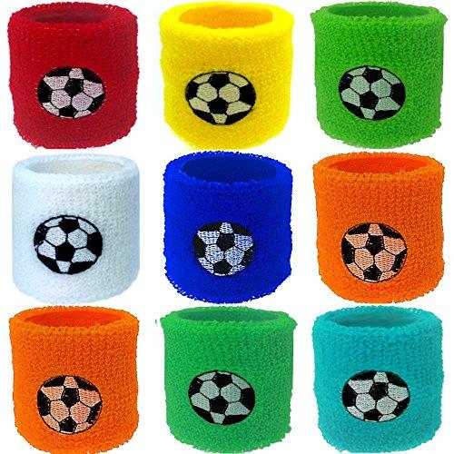 German Trendseller® - 12 x Fußball Schweißband ┃ Handgelenk ┃ Mitgebsel ┃ Kindergeburtstag ┃ Für 12 Kinder