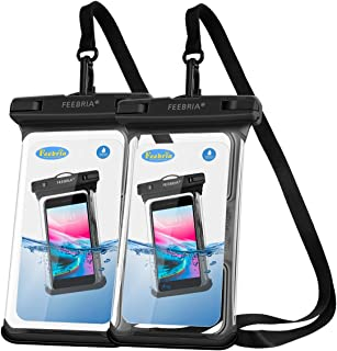 FEEBRIA Water Proof Cell Phone Pouch Made of New Type PVC,100ft Diving Distance,Prefect Protection for Swimming Diving Drifting Dry Bag Pouch for iPhone X,8 Samsung Galaxy Note S HTC LG (2 Pack)
