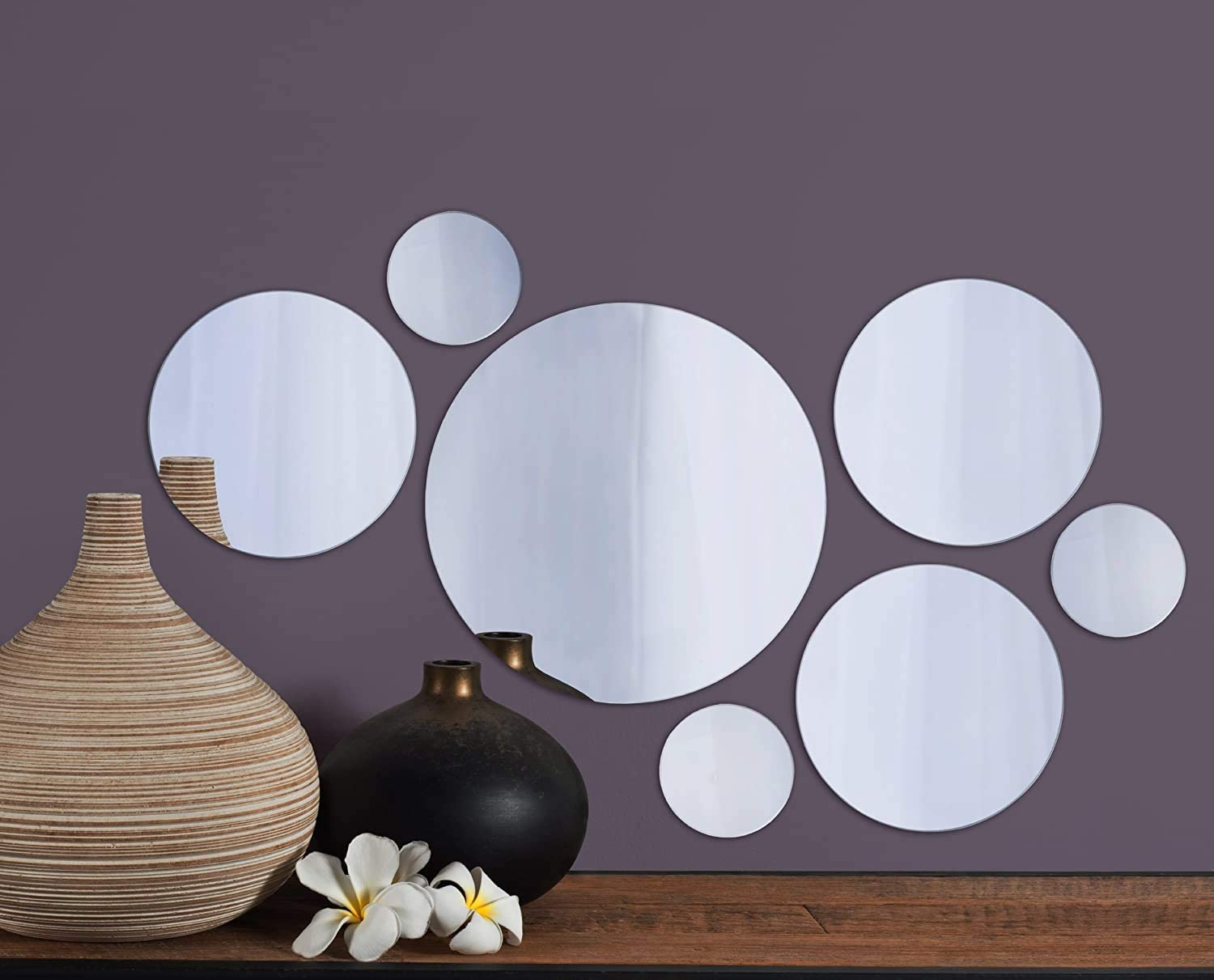 Elements Round Wall-Mount Mirror 5046370 Set of 7 Fоur Paсk Assorted Sizes