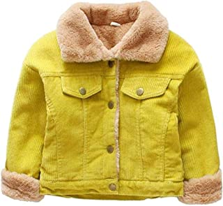Unisex Child Winter Corduroy Sherpa Jacket Fleece Lined Quilted Button Down Coat for Little Boys Girls