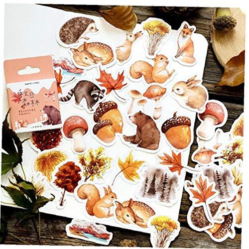 46 Stück Herbst Adhesive Aufkleber Nettes Waldtier Dekoration DIY Tagebuch-dekor-Aufkleber Scrapbook Sticker