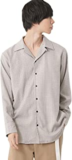 (モノマート) MONO-MART TR ストレッチ スーツ地 L/S オープンカラーシャツ オーバーサイズ シャツ メンズ