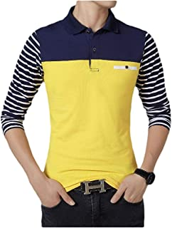 neveraway Men Casual Striped Polo-Collar Simple Long-Sleeve Blouse T-Shirt Tops