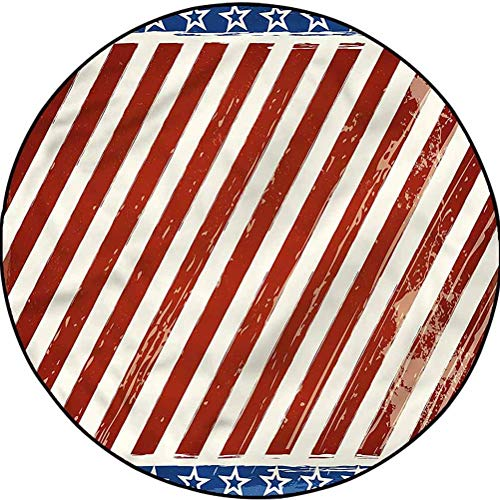 4th of July Country Cottage Round Rug Yoga Decor Floor Cushion Abstract Stripes Diameter 72 in(183cm)
