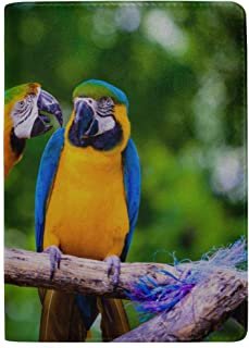 Tropical Colourful Beautiful Parrots Blocking Print Passport Holder Cover Case Travel Luggage Passport Wallet Card Holder Made with Leather for Men Women Kids Family