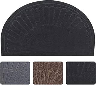 Half Round Door Mat Entrance Rug Floor Mats, Waterproof Floor Mat Shoes Scraper Doormat, 18''x30'' Patio Rug Dirt Debris Mud Trapper Out Door Mat Low Profile Washable Carpet (Black)