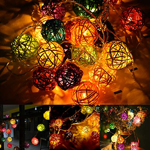 Rattan ball fairy string lights, LED fairy lights, paper lanterns/lanterns, decoration for garden, Christmas party, wedding, indoor and outdoor, battery operated, 4 m/13 ft. 20 bulbs